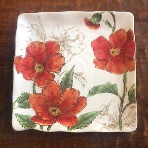 Maxcera Square Poppy Sketch Dinner Plates